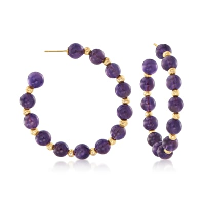 40.00 ct. t.w. Amethyst Bead J-Hoop Earrings in 14kt Yellow Gold