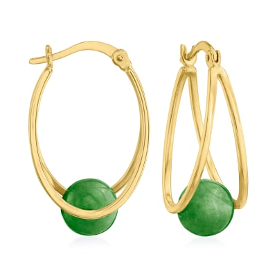 Jade Double-Hoop Earrings in 18kt Gold Over Sterling