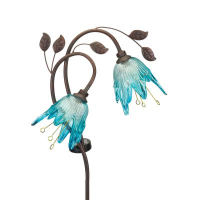"Regal ""Double Flower"" Set of 2 Blue Solar Garden Stakes"