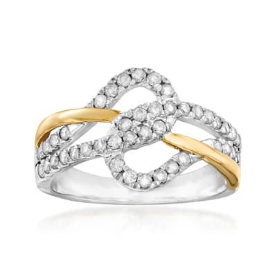 .50 ct. t.w. Diamond Interlocking Ring in Sterling Silver and 14kt Yellow Gold