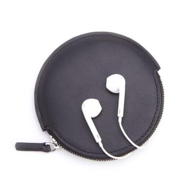 Royce Black Leather Circular Earbud Case