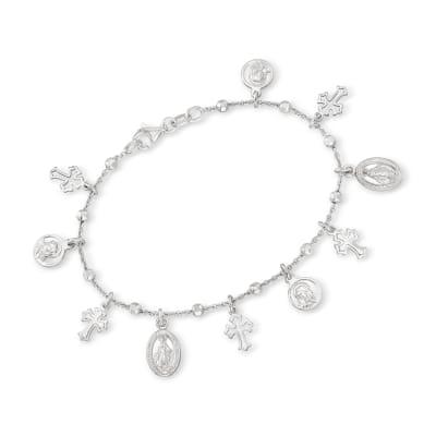 Italian Sterling Silver Religious Charm Bracelet