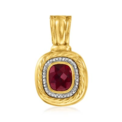 C. 1990 Vintage David Yurman 8.40 Carat Garnet and .50 ct. t.w. Diamond Pendant in 18kt Yellow Gold