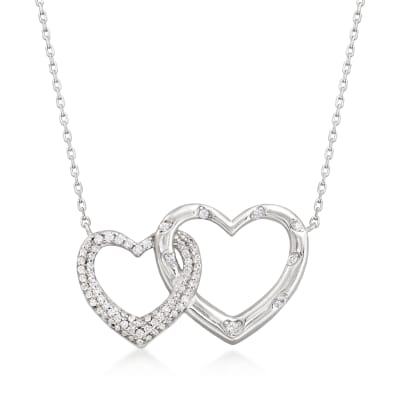 .40 ct. t.w. Pave CZ Interlocking Hearts Necklace in Sterling Silver