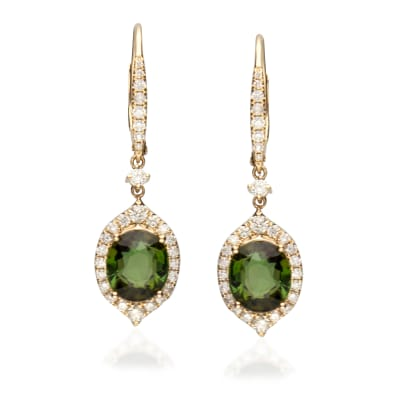 4.20 ct. t.w. Green Tourmaline and .69 ct. t.w. Diamond Drop Earrings in 14kt Yellow Gold