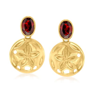 1.60 ct. t.w. Garnet Starfish Drop Earrings in 18kt Gold Over Sterling