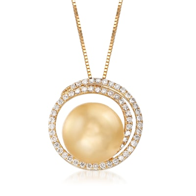 12-13mm Cultured Golden South Sea Pearl and .48 ct. t.w. Diamond Swirl Pendant Necklace in 18kt Yellow Gold