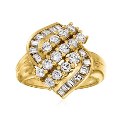 C. 1990 Vintage 1.80 ct. t.w. Diamond Cluster Ring in 18kt Yellow Gold