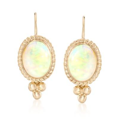 Opal Roped Frame Earrings in 14kt Yellow Gold
