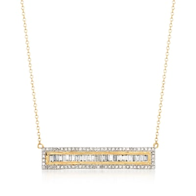1.00 ct. t.w. Round and Baguette Diamond Bar Necklace in 14kt Yellow Gold