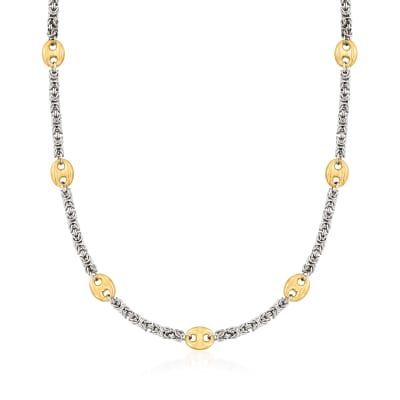 Byzantine and Mariner-Link Station Necklace in Sterling Silver and 18kt Gold Over Sterling