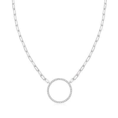 .24 ct. t.w. CZ Open-Circle Paper Clip Link Necklace in Sterling Silver