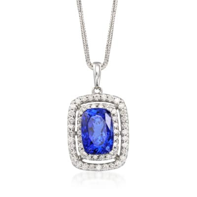 9.25 Carat Violet Tanzanite and 1.00 ct. t.w. Diamond Pendant Necklace in 14kt White Gold