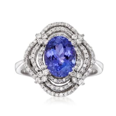 2.00 Carat Tanzanite and .50 ct. t.w. Diamond Scallop Ring in 14kt White Gold