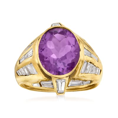 C. 1980 Vintage 4.25 Carat Amethyst and 2.20 ct. t.w. Diamond Ring in 18kt Yellow Gold