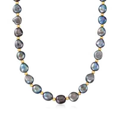 10.5-11.5mm Black Cultured Baroque Pearl Necklace with 14kt Yellow Gold