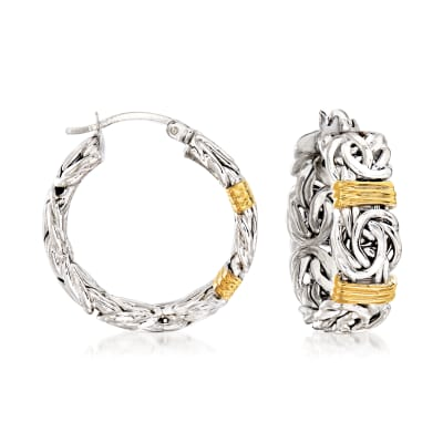 Byzantine Station Hoop Earrings in Sterling Silver with 14kt Yellow Gold