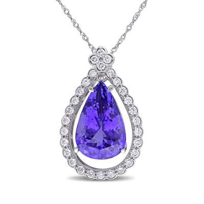 8.00 Carat Tanzanite and .58 ct. t.w. Diamond Necklace in 14kt White Gold