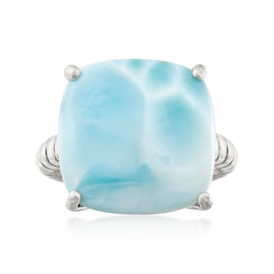 16mm Larimar Roped Sterling Silver Ring