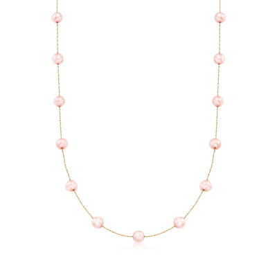6-6.5mm Pink Cultured Pearl Station Necklace in 14kt Yellow Gold