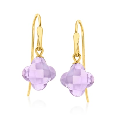 3.70 ct. t.w. Amethyst Clover Drop Earrings in 14kt Yellow Gold
