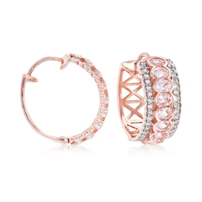 2.80 ct. t.w. Morganite and .60 ct. t.w. White Zircon Hoop Earrings in 18kt Rose Gold Over Sterling Silver