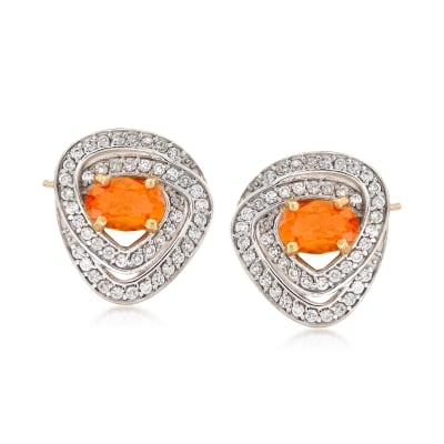 Fire Opal and .40 ct. t.w. White Zircon Earrings in 18kt Gold Over Sterling