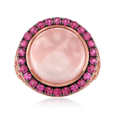 9.75 Carat Rose Quartz and 1.30 ct. t.w. Rhodolite Garnet Halo Ring in 18kt Rose Gold Over Sterling