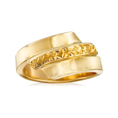 Italian 14kt Yellow Gold Diamond-Cut and Polished Ring