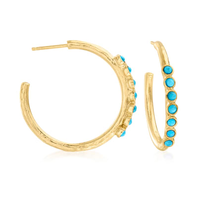 Turquoise Hoop Earrings in 18kt Gold Over Sterling