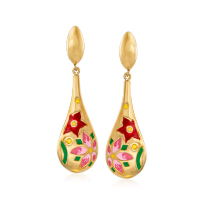 Italian Multicolored Enamel Flower Drop Earrings in 18kt Gold Over Sterling