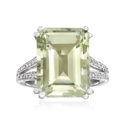 11.00 Carat Prasiolite and .10 ct. t.w. White Topaz Ring in Sterling Silver