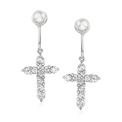 C. 1990 Vintage .50 ct. t.w. Diamond Cross Drop Earrings in 14kt White Gold