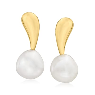 10-11mm Cultured Pearl Drop Earrings in 18kt Gold Over Sterling