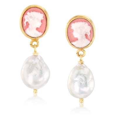 Italian 9-10mm Cultured Pearl Cameo Drop Earrings in 18kt Gold Over Sterling