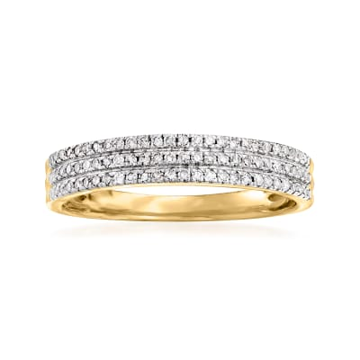 .25 ct. t.w. Diamond Three-Row Ring in 14kt Yellow Gold