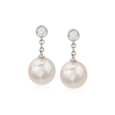 Mikimoto 8-8.5mm A+ Akoya Pearl Earrings with Diamonds in 18kt White Gold