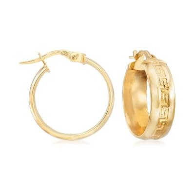 Italian Greek Key Hoop Earrings in 14kt Yellow Gold