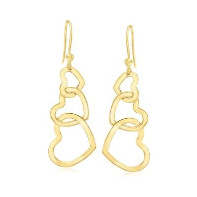 Italian 18kt Gold Over Sterling Interlocking Heart Drop Earrings