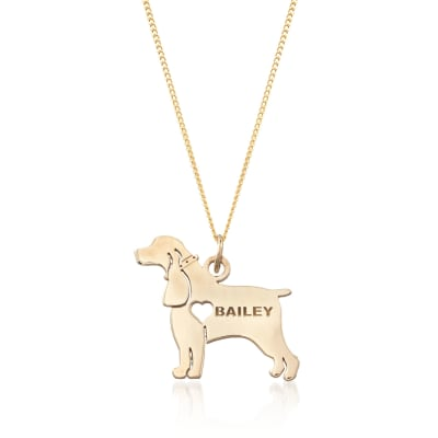 18kt Yellow Gold Over Sterling Silver Cocker Spaniel Name Pendant Necklace