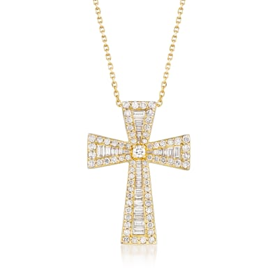 1.54 ct. t.w. Round and Baguette Diamond Cross Necklace in 14kt Yellow Gold