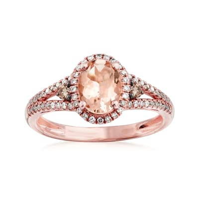 1.20 Carat Morganite and .24 ct. t.w. Diamond Ring in 14kt Rose Gold