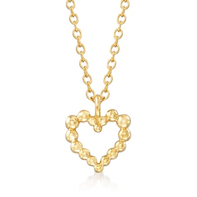 Gabriel Designs 14kt Yellow Gold Beaded Heart Pendant Necklace