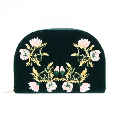 "Wolf ""Zoe"" Forest Green Velvet Floral Jewelry Travel Portfolio Case"