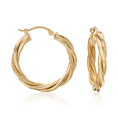 14kt Yellow Gold Twisted Hoop Earrings