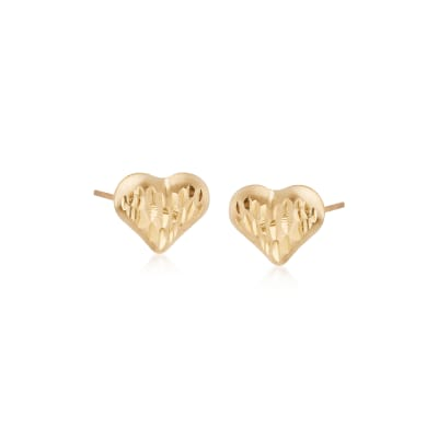 Child's 14kt Yellow Gold Diamond-Cut Heart Stud Earrings