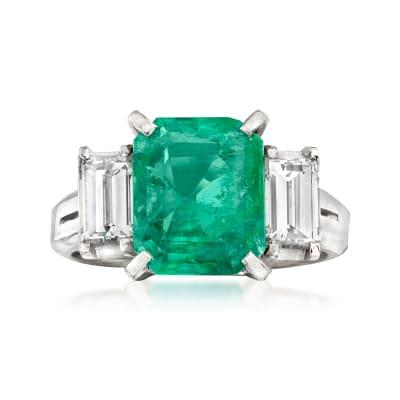 C. 1980 Vintage 1.92 Carat Emerald and .84 ct. t.w. Diamond Ring in Platinum