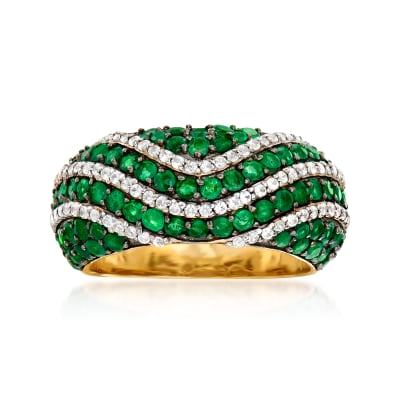1.50 ct. t.w. Emerald and .60 ct. t.w. White Zircon Ring in 18kt Gold Over Sterling