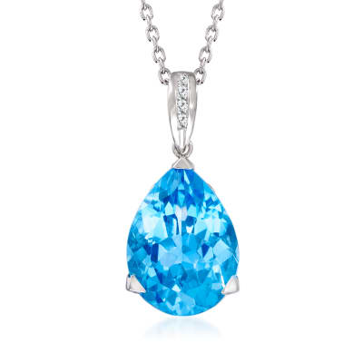 14.00 Carat Swiss Blue Topaz Pendant Necklace with Diamond Accents in Sterling Silver