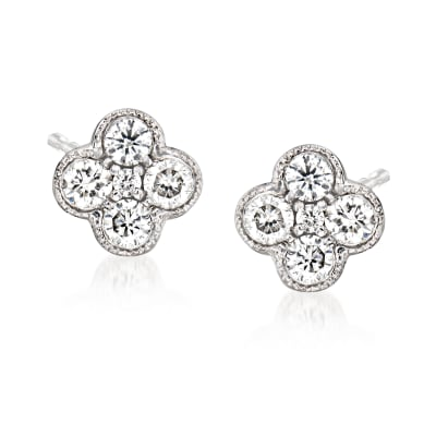 Gabriel Designs .25 ct. t.w. Diamond Cluster Stud Earrings in 14kt White Gold